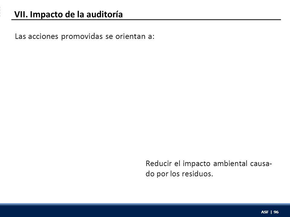 ASF | 96 VII. Impacto de la auditoría Reducir el impacto ambiental causa- do por los residuos. Las acciones promovidas se orientan a: ASF | 96
