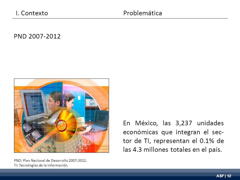 ASF | 12 En México, las 3,237 unidades económicas que integran el sec- tor de TI, representan el 0.1% de las 4.3 millones totales en el país.