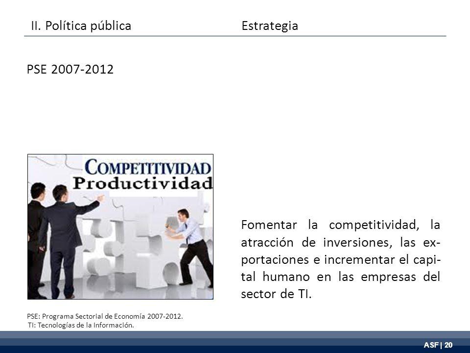 ASF | 20 Fomentar la competitividad, la atracción de inversiones, las ex- portaciones e incrementar el capi- tal humano en las empresas del sector de TI.