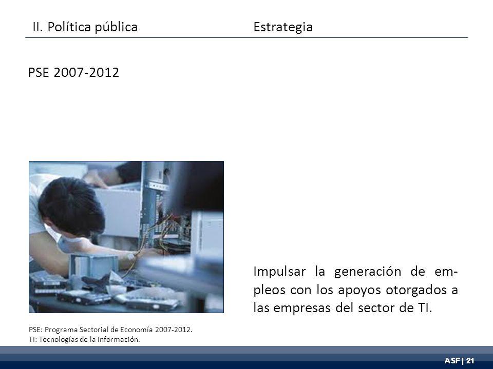ASF | 21 Impulsar la generación de em- pleos con los apoyos otorgados a las empresas del sector de TI.