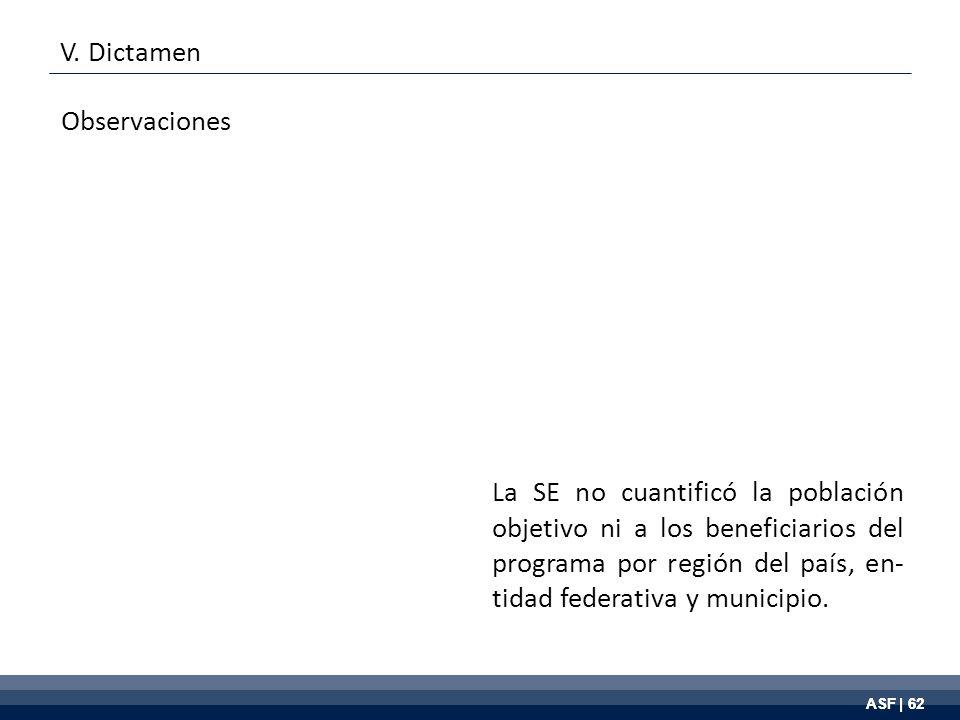 ASF | 62 La SE no cuantificó la población objetivo ni a los beneficiarios del programa por región del país, en- tidad federativa y municipio.