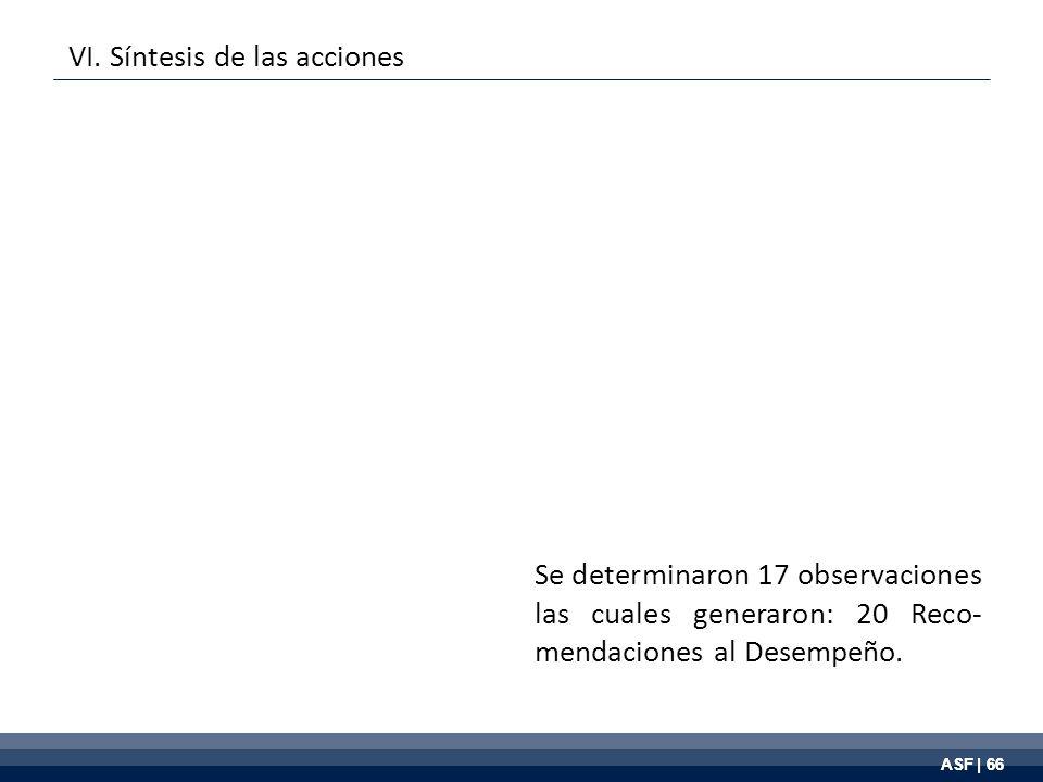 ASF | 66 Se determinaron 17 observaciones las cuales generaron: 20 Reco- mendaciones al Desempeño.