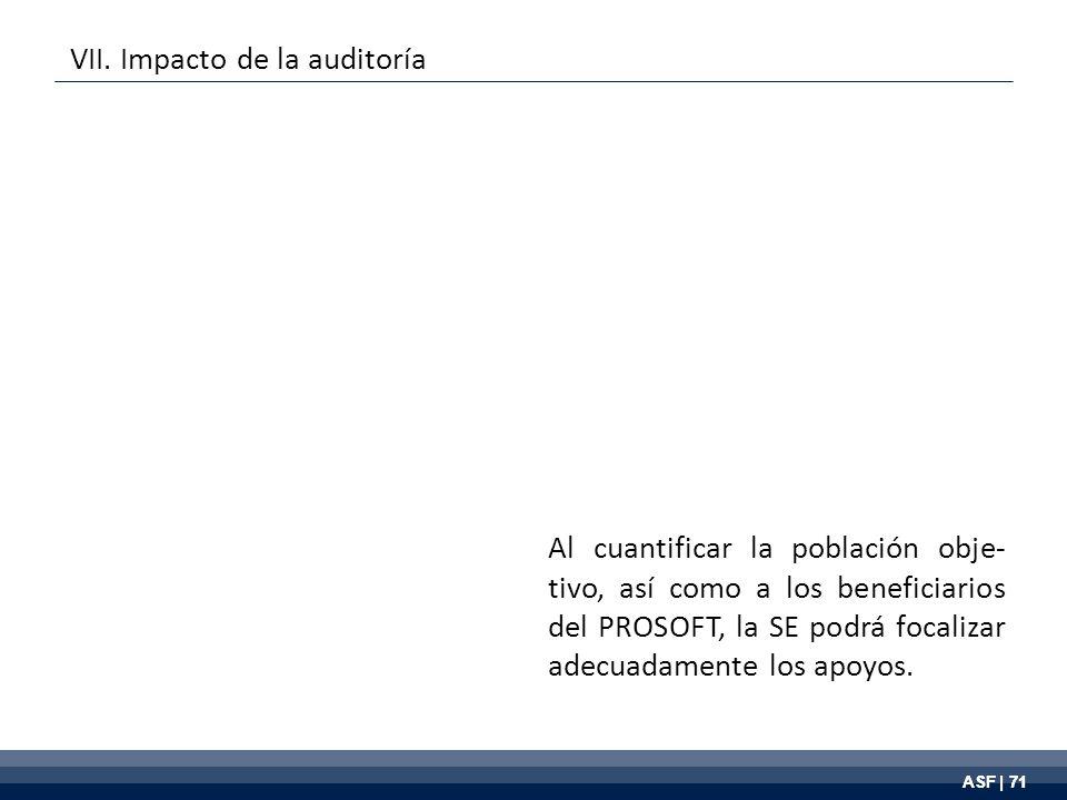ASF | 71 Al cuantificar la población obje- tivo, así como a los beneficiarios del PROSOFT, la SE podrá focalizar adecuadamente los apoyos.