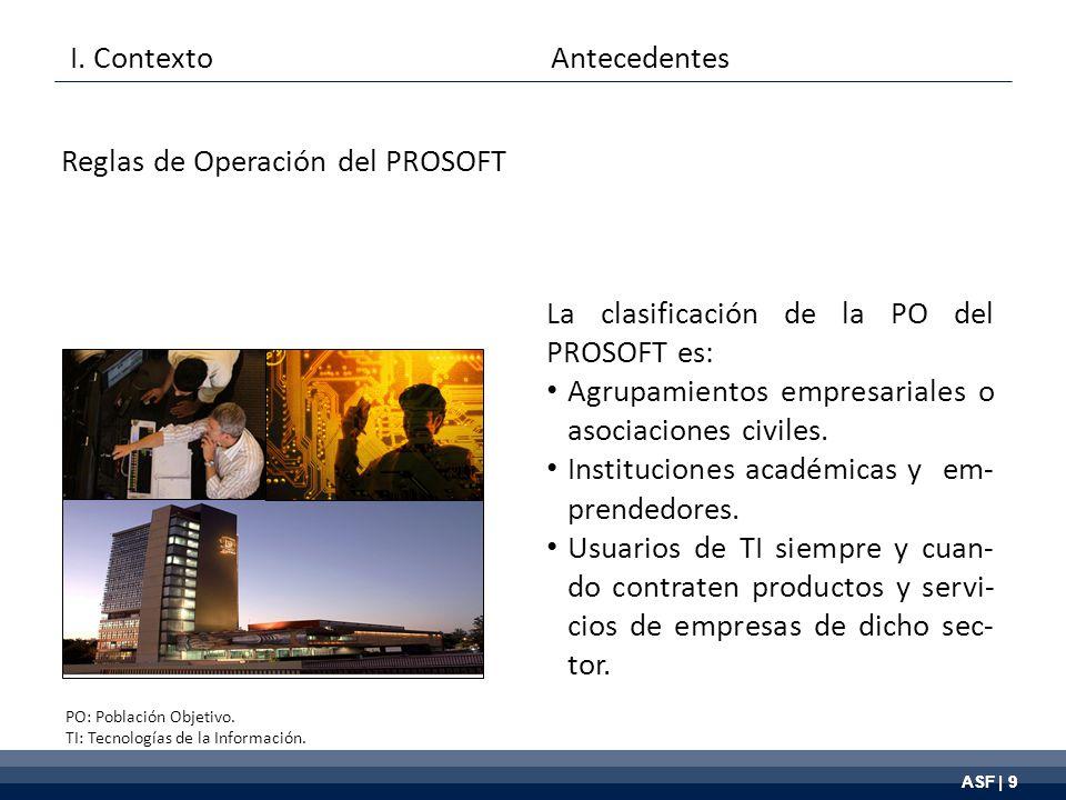 ASF | 9 La clasificación de la PO del PROSOFT es: Agrupamientos empresariales o asociaciones civiles.