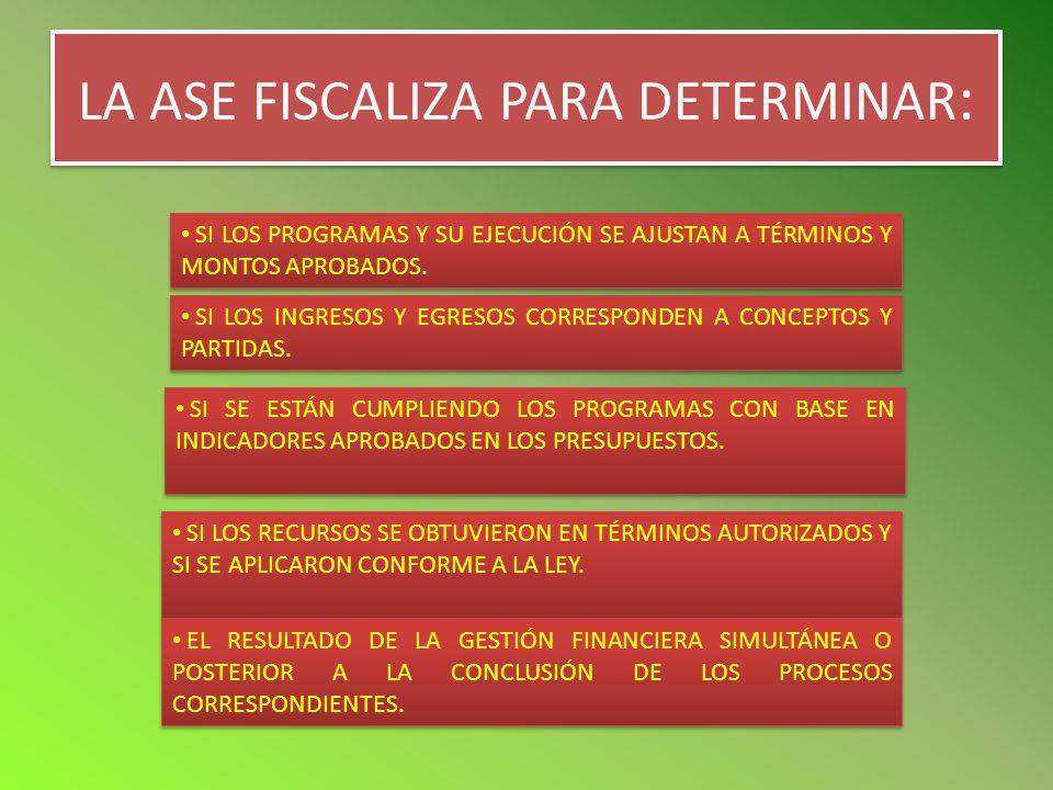 LA ASE FISCALIZA PARA DETERMINAR : SI LOS PROGRAMAS Y SU EJECUCIÓN SE AJUSTAN A TÉRMINOS Y MONTOS APROBADOS. SI LOS INGRESOS Y EGRESOS CORRESPONDEN A