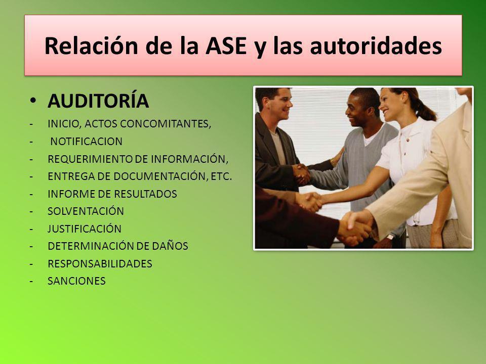 Relación de la ASE y las autoridades AUDITORÍA -INICIO, ACTOS CONCOMITANTES, - NOTIFICACION -REQUERIMIENTO DE INFORMACIÓN, -ENTREGA DE DOCUMENTACIÓN,
