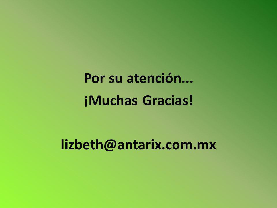 Por su atención... ¡Muchas Gracias! lizbeth@antarix.com.mx