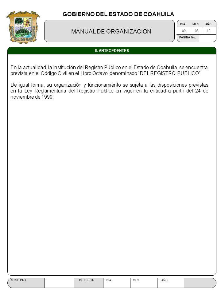 GOBIERNO DEL ESTADO DE COAHUILA MANUAL DE ORGANIZACION SUST. PAG. DE FECHA DIA MES AÑO PAGINA No. II. ANTECEDENTES En la actualidad, la Institución de