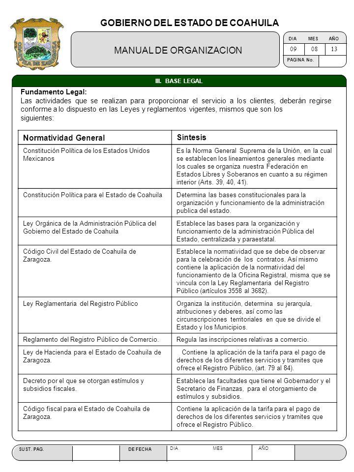 GOBIERNO DEL ESTADO DE COAHUILA MANUAL DE ORGANIZACION SUST. PAG. DE FECHA DIA MES AÑO PAGINA No. III. BASE LEGAL 090813 Fundamento Legal: Las activid