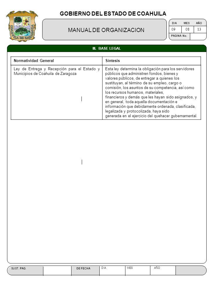 GOBIERNO DEL ESTADO DE COAHUILA MANUAL DE ORGANIZACION SUST. PAG. DE FECHA DIA MES AÑO PAGINA No. III. BASE LEGAL 090813 Normatividad GeneralSíntesis