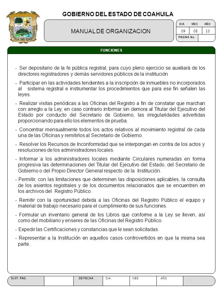 GOBIERNO DEL ESTADO DE COAHUILA MANUAL DE ORGANIZACION SUST. PAG. DE FECHA DIA MES AÑO PAGINA No. FUNCIONES - Ser depositario de la fe pública registr
