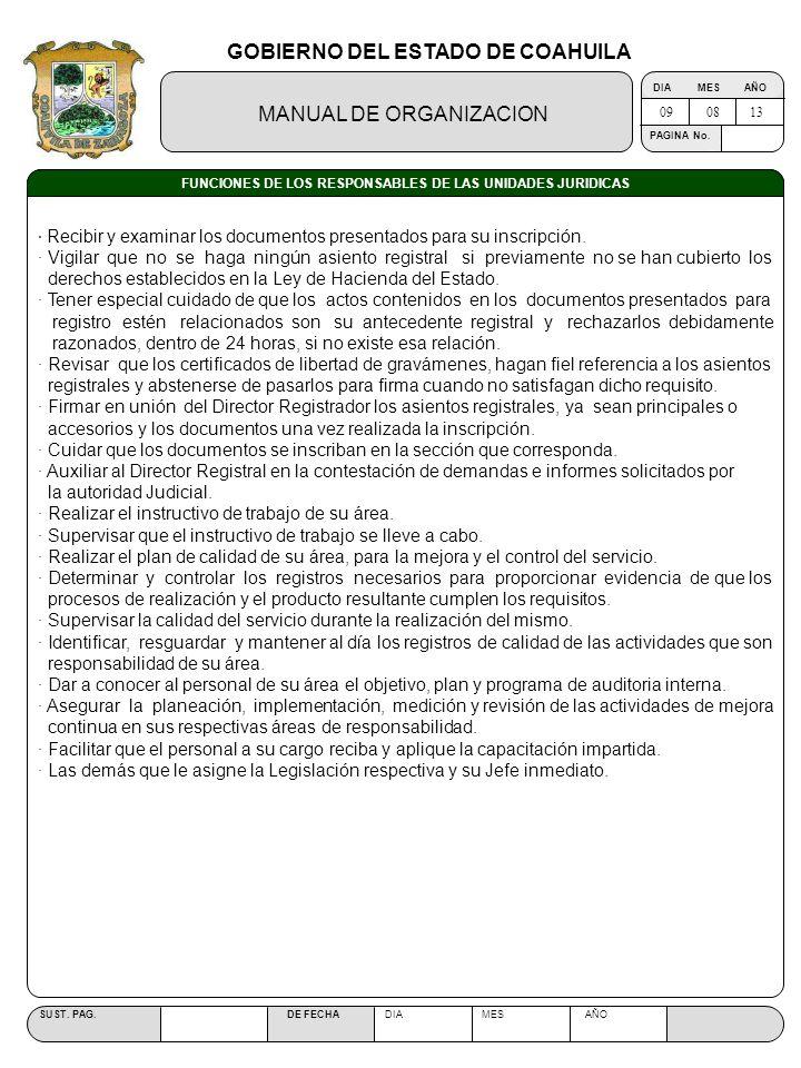 GOBIERNO DEL ESTADO DE COAHUILA MANUAL DE ORGANIZACION SUST. PAG. DE FECHA DIA MES AÑO PAGINA No. FUNCIONES DE LOS RESPONSABLES DE LAS UNIDADES JURIDI
