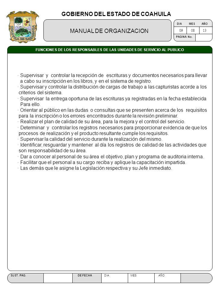GOBIERNO DEL ESTADO DE COAHUILA MANUAL DE ORGANIZACION SUST. PAG. DE FECHA DIA MES AÑO PAGINA No. FUNCIONES DE LOS RESPONSABLES DE LAS UNIDADES DE SER