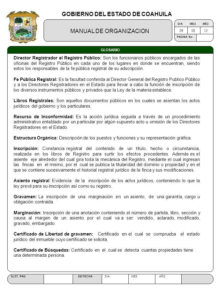 GOBIERNO DEL ESTADO DE COAHUILA MANUAL DE ORGANIZACION SUST. PAG. DE FECHA DIA MES AÑO PAGINA No. GLOSARIO Director Registrador el Registro Público: S