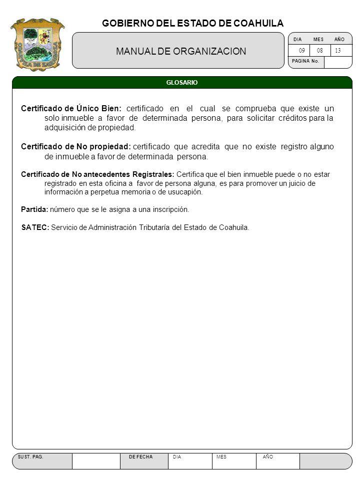 GOBIERNO DEL ESTADO DE COAHUILA MANUAL DE ORGANIZACION SUST. PAG. DE FECHA DIA MES AÑO PAGINA No. GLOSARIO Certificado de Único Bien: certificado en e