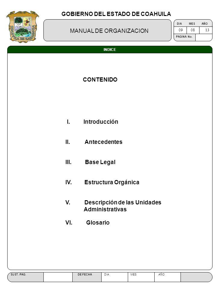 GOBIERNO DEL ESTADO DE COAHUILA MANUAL DE ORGANIZACION SUST. PAG. DE FECHA DIA MES AÑO PAGINA No. INDICE CONTENIDO I. Introducción II. Antecedentes II
