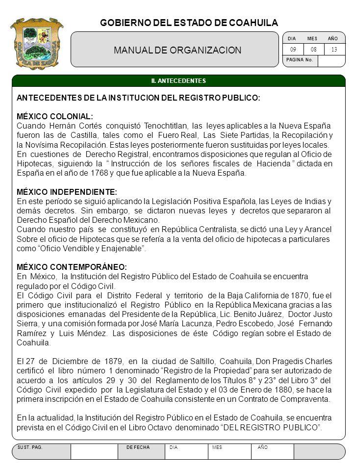 GOBIERNO DEL ESTADO DE COAHUILA MANUAL DE ORGANIZACION SUST. PAG. DE FECHA DIA MES AÑO PAGINA No. II. ANTECEDENTES ANTECEDENTES DE LA INSTITUCION DEL