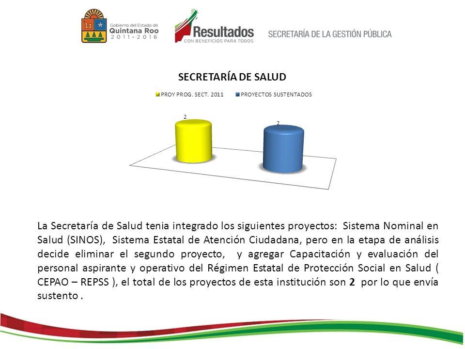 La Secretaría de Salud tenia integrado los siguientes proyectos: Sistema Nominal en Salud (SINOS), Sistema Estatal de Atención Ciudadana, pero en la e