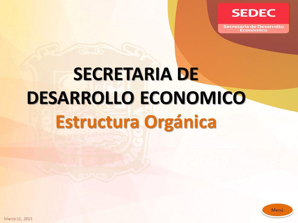 SECRETARIA DE DESARROLLO ECONOMICO Estructura Orgánica Menú Marzo 11, 2013