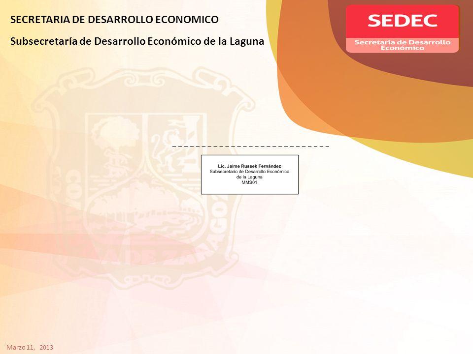 SECRETARIA DE DESARROLLO ECONOMICO Subsecretaría de Desarrollo Económico de la Laguna Marzo 11, 2013
