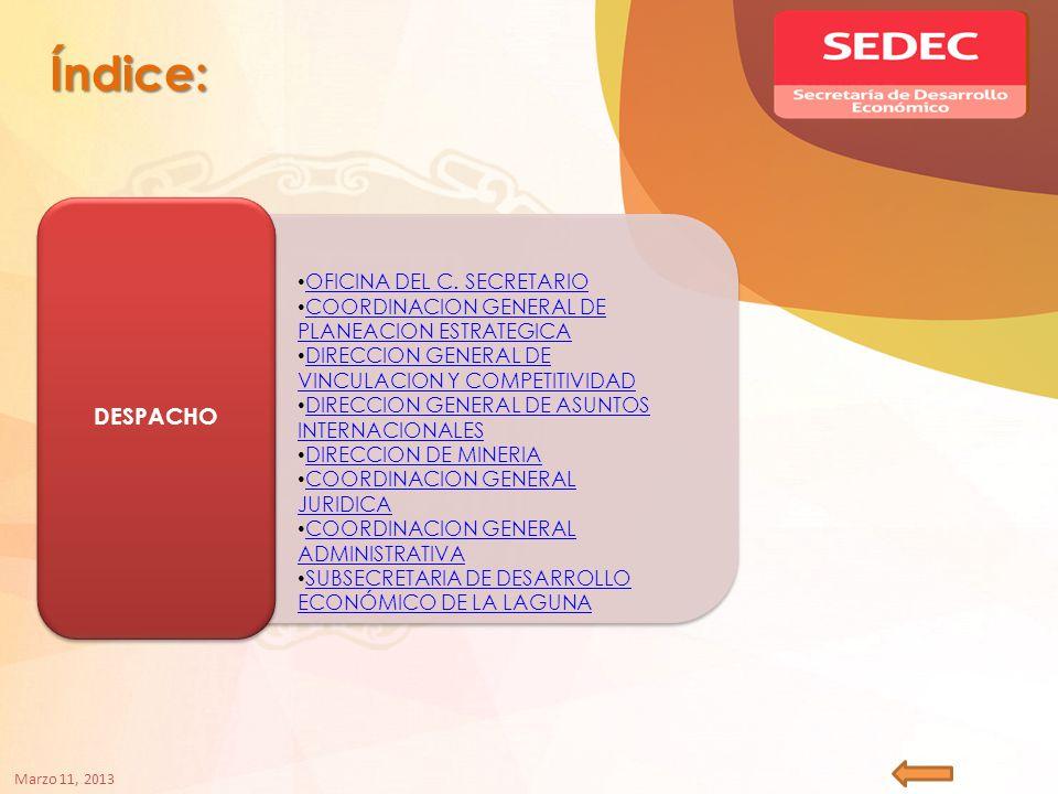 Índice: DESPACHO OFICINA DEL C.