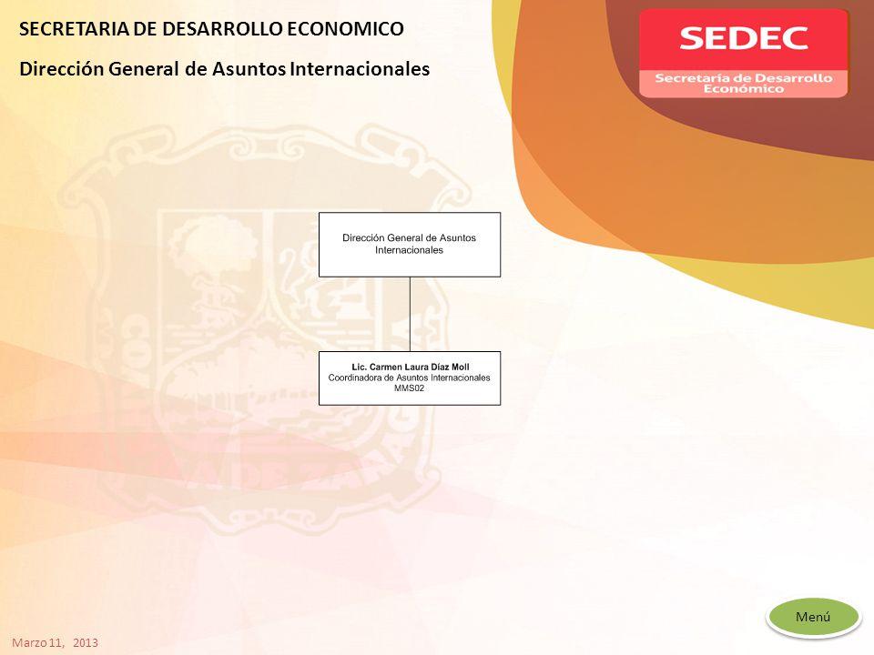 Menú SECRETARIA DE DESARROLLO ECONOMICO Dirección General de Asuntos Internacionales Marzo 11, 2013
