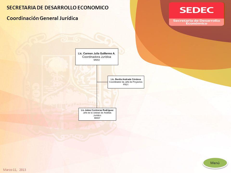 Menú SECRETARIA DE DESARROLLO ECONOMICO Coordinación General Jurídica Marzo 11, 2013