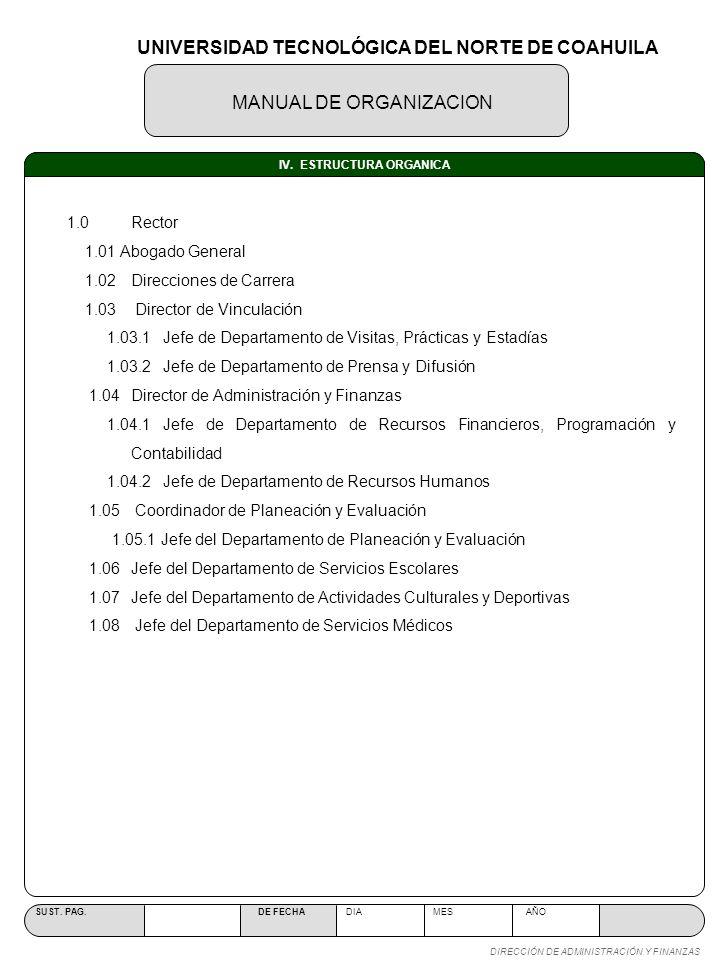 MANUAL DE ORGANIZACION SUST. PAG. DE FECHA DIA MES AÑO DIRECCIÓN DE ADMINISTRACIÓN Y FINANZAS IV. ESTRUCTURA ORGANICA UNIVERSIDAD TECNOLÓGICA DEL NORT