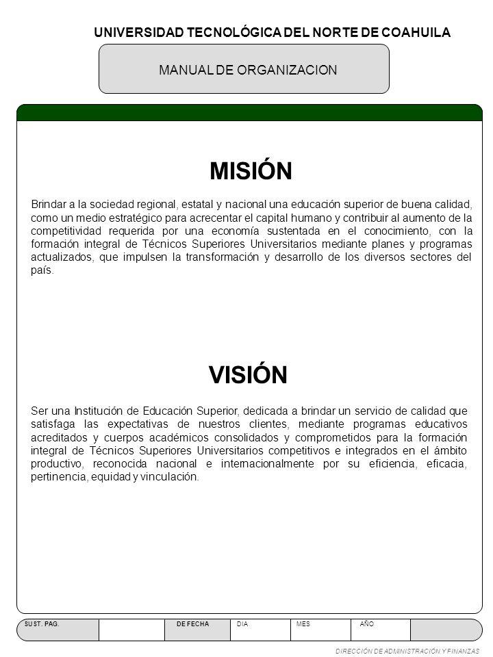 MANUAL DE ORGANIZACION SUST.PAG. DE FECHA DIA MES AÑO DIRECCIÓN DE ADMINISTRACIÓN Y FINANZAS IV.