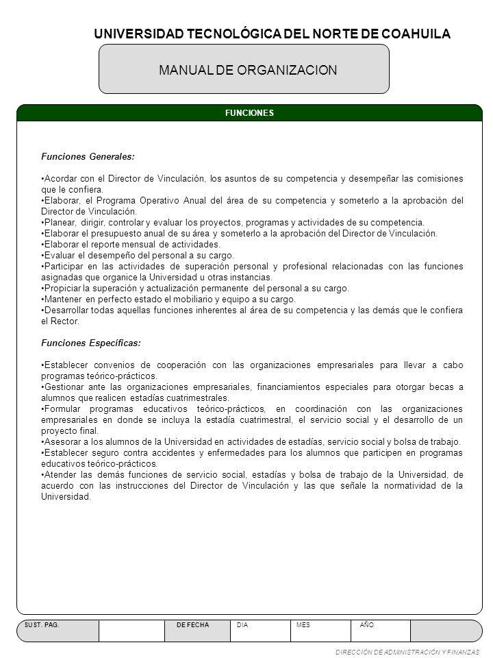 MANUAL DE ORGANIZACION SUST. PAG. DE FECHA DIA MES AÑO DIRECCIÓN DE ADMINISTRACIÓN Y FINANZAS FUNCIONES Funciones Generales: Acordar con el Director d