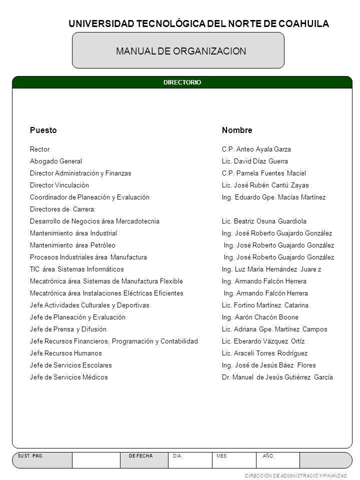 MANUAL DE ORGANIZACION SUST. PAG. DE FECHA DIA MES AÑO DIRECCIÓN DE ADMINISTRACIÓ Y FINANZAS DIRECTORIO RectorC.P. Anteo Ayala Garza Abogado GeneralLi