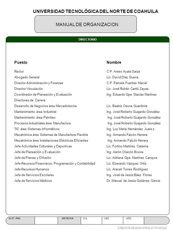 OBJETIVO ESTRUCTURA ORGÁNICA MANUAL DE ORGANIZACION SUST.