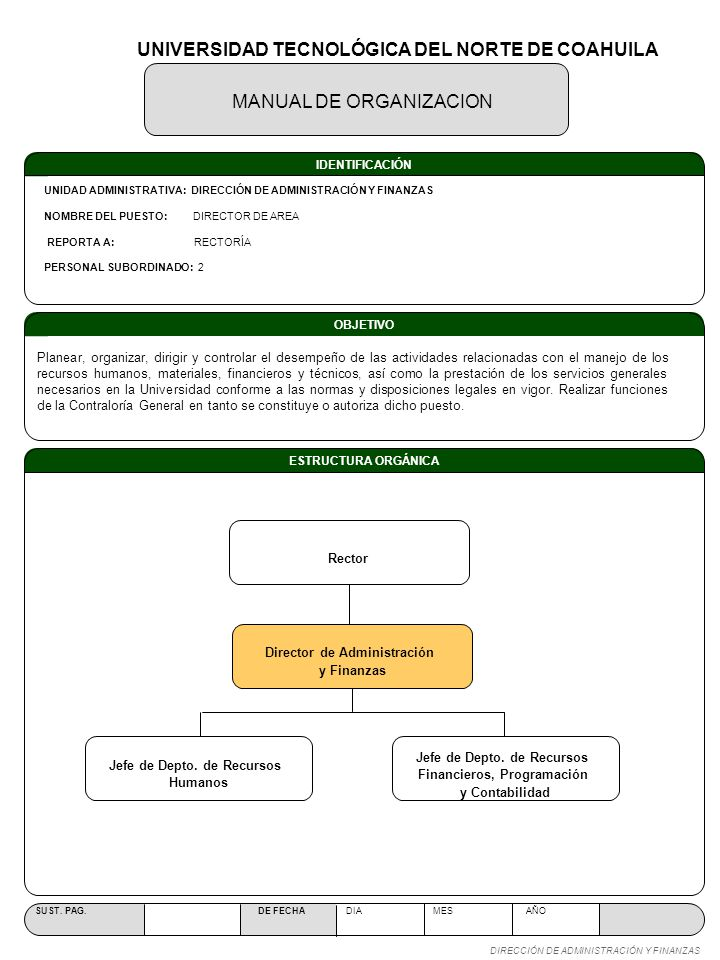 OBJETIVO ESTRUCTURA ORGÁNICA MANUAL DE ORGANIZACION SUST. PAG. DE FECHA DIA MES AÑO DIRECCIÓN DE ADMINISTRACIÓN Y FINANZAS IDENTIFICACIÓN UNIDAD ADMIN