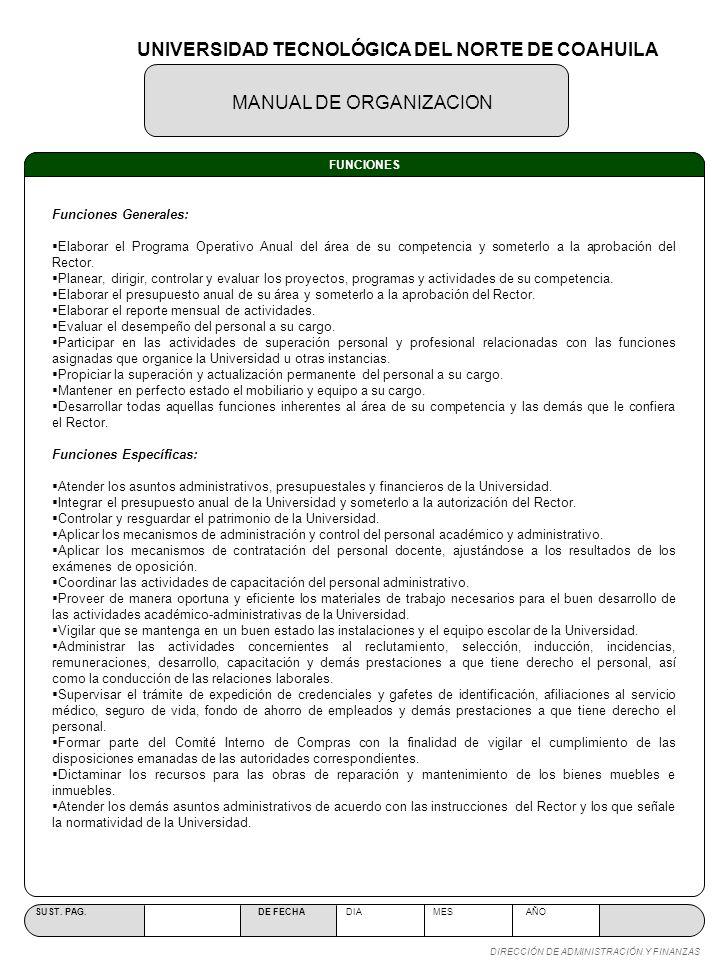MANUAL DE ORGANIZACION SUST. PAG. DE FECHA DIA MES AÑO DIRECCIÓN DE ADMINISTRACIÓN Y FINANZAS FUNCIONES Funciones Generales: Elaborar el Programa Oper
