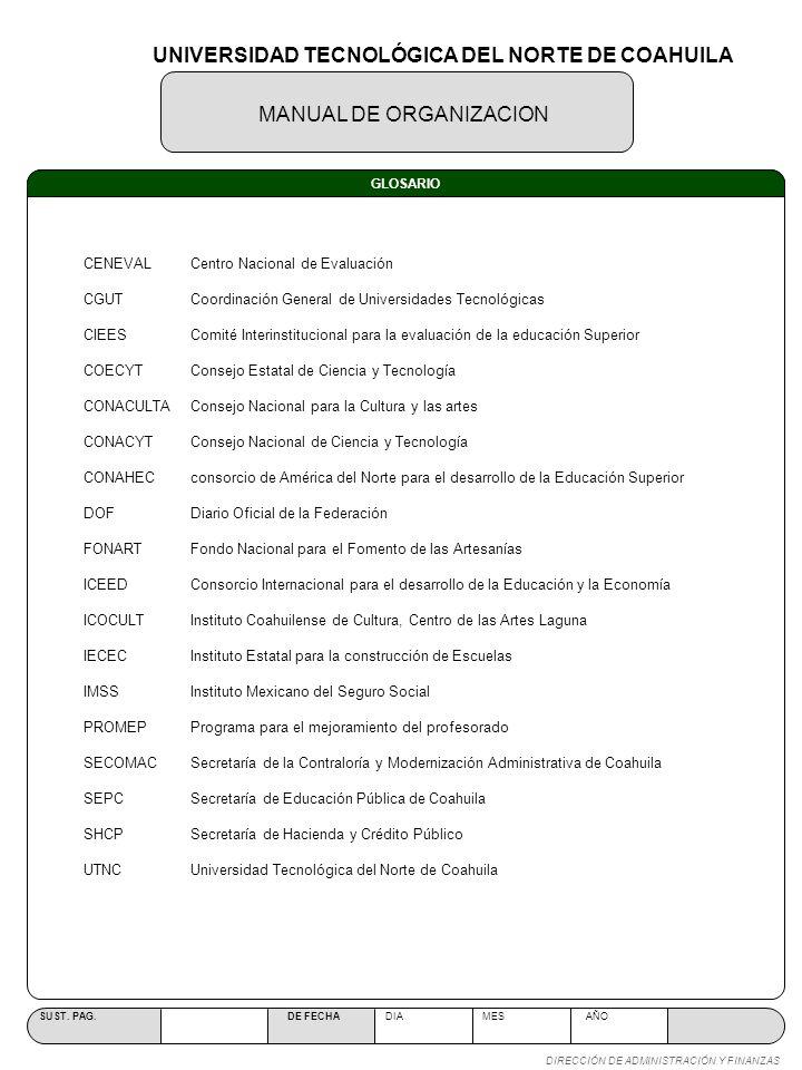 MANUAL DE ORGANIZACION SUST. PAG. DE FECHA DIA MES AÑO DIRECCIÓN DE ADMINISTRACIÓN Y FINANZAS GLOSARIO CENEVAL Centro Nacional de Evaluación CGUT Coor