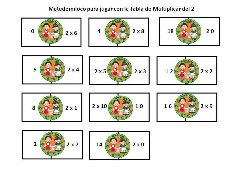 0 2 x 6 1 2 4 2 x 2 2 x 8 2 x 10 1 0 18 2 0 1 6 2 x 9 6 14 2 x 52 x 3 2 x 1 2 x 4 8 2 2 x 72 x 0 Matedomiloco para jugar con la Tabla de Multiplicar d