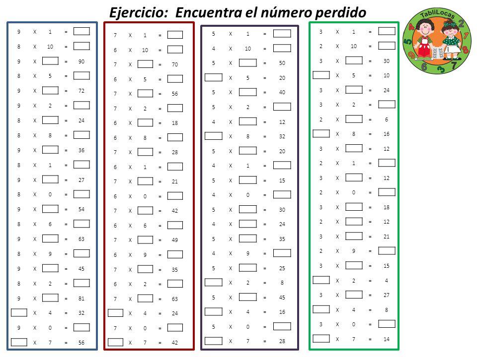 Ejercicio: Encuentra el número perdido 7X1= 6X10= 7X =70 6X5= 7X =56 7X2= 6X =18 6X8= 7X =28 6X1= 7X =21 6X0= 7X =42 6X6= 7X =49 6X9= 7X =35 6X2= 7X =