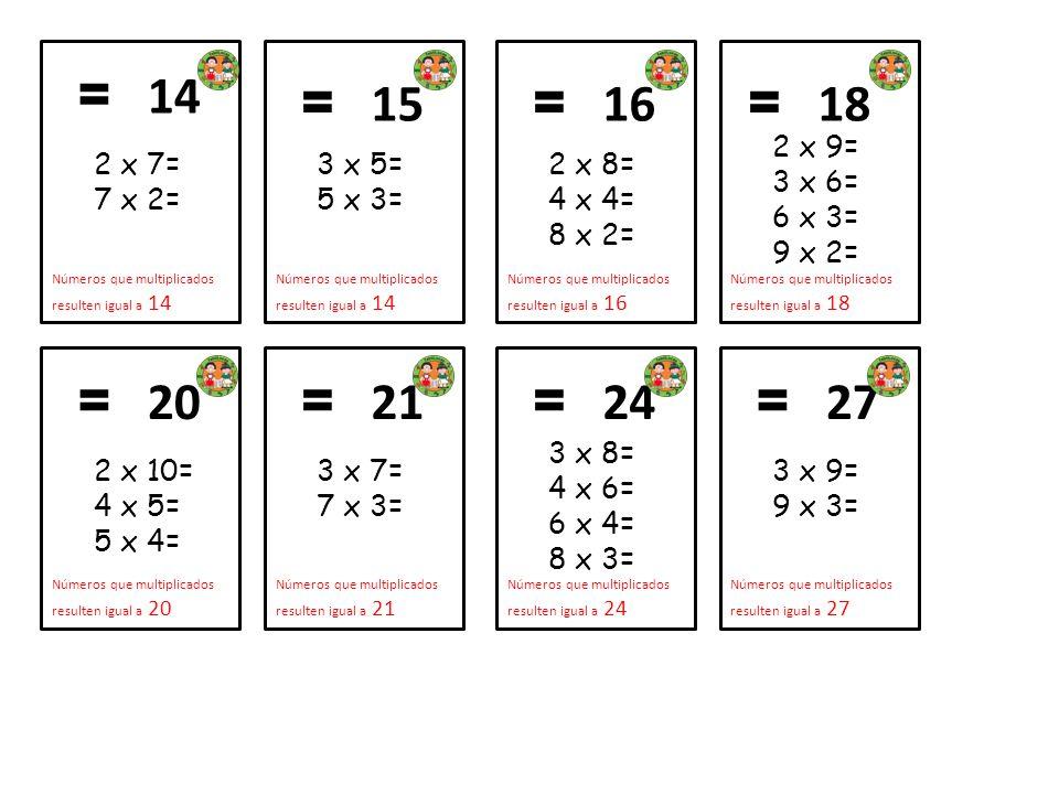 2 x 7= 7 x 2= = 14 Números que multiplicados resulten igual a 14 3 x 5= 5 x 3= = 15 Números que multiplicados resulten igual a 14 2 x 8= 4 x 4= 8 x 2=