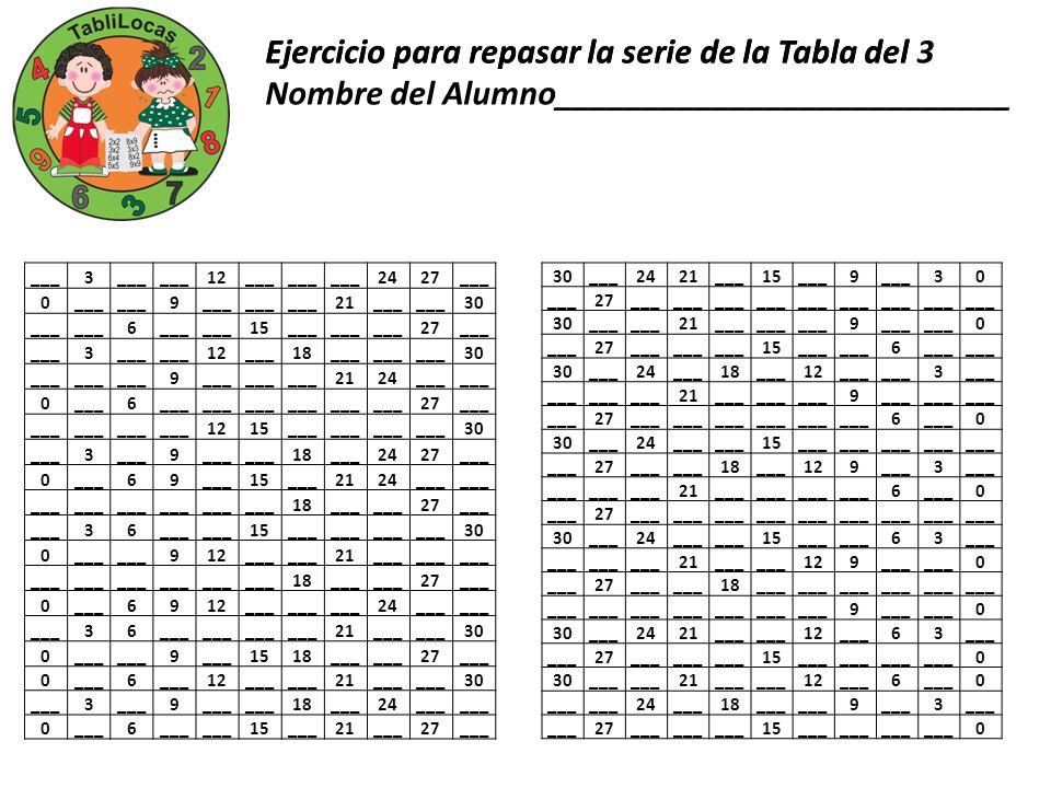 Ejercicio para repasar la serie de la Tabla del 3 ___3 12___ 2427___ 0 9 21___ 30 ___ 6 15___ 27___ 3 12___18___ 30 ___ 9 2124___ 0 6 27___ 1215___ 30