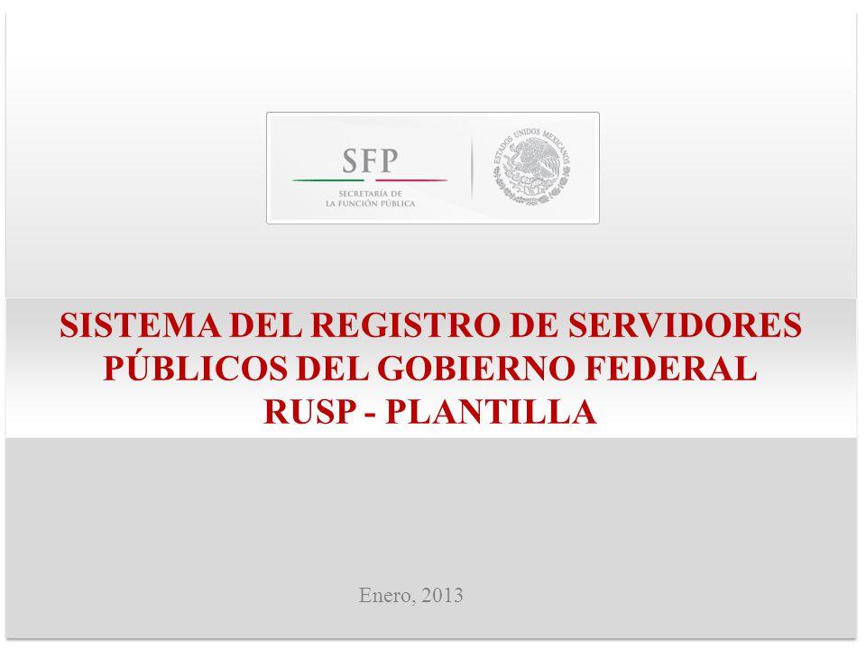 SISTEMA DEL REGISTRO DE SERVIDORES PÚBLICOS DEL GOBIERNO FEDERAL RUSP - PLANTILLA Enero, 2013