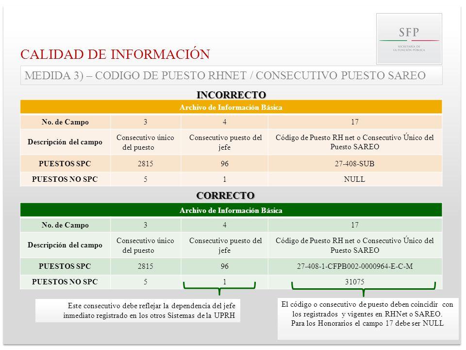 CALIDAD DE INFORMACIÓN Archivo de Información Básica No. de Campo3417 Descripción del campo Consecutivo único del puesto Consecutivo puesto del jefe C