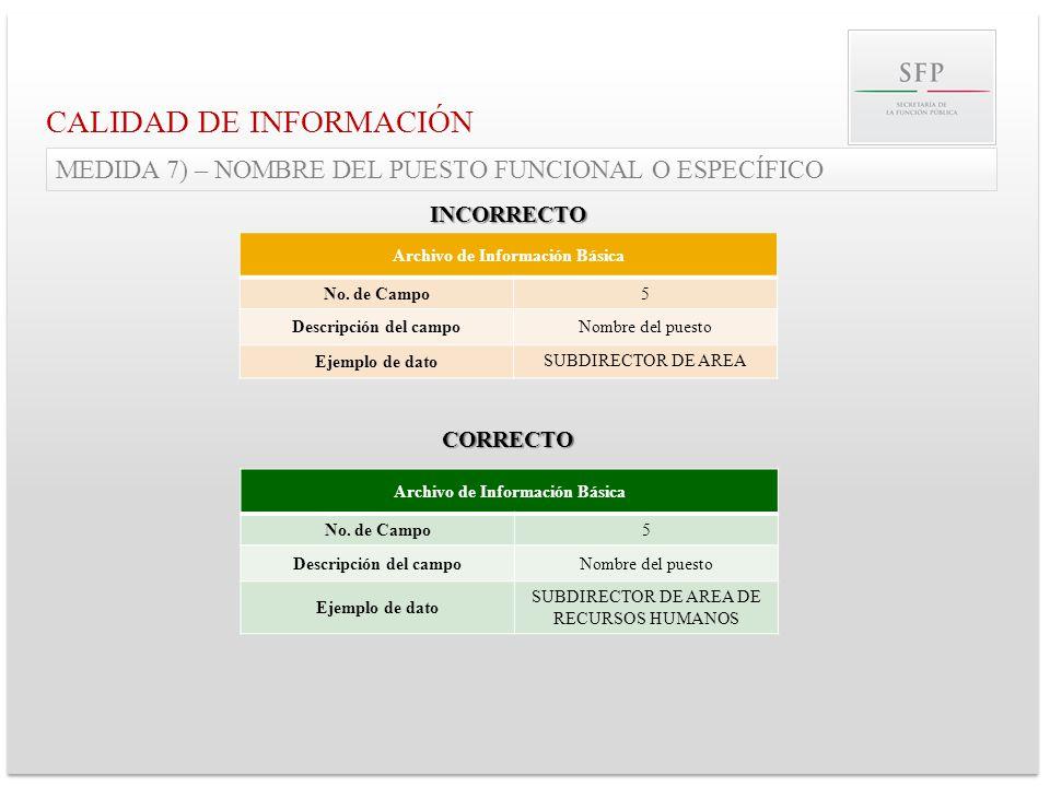 Archivo de Información Básica No. de Campo5 Descripción del campoNombre del puesto Ejemplo de dato SUBDIRECTOR DE AREA CALIDAD DE INFORMACIÓN MEDIDA 7
