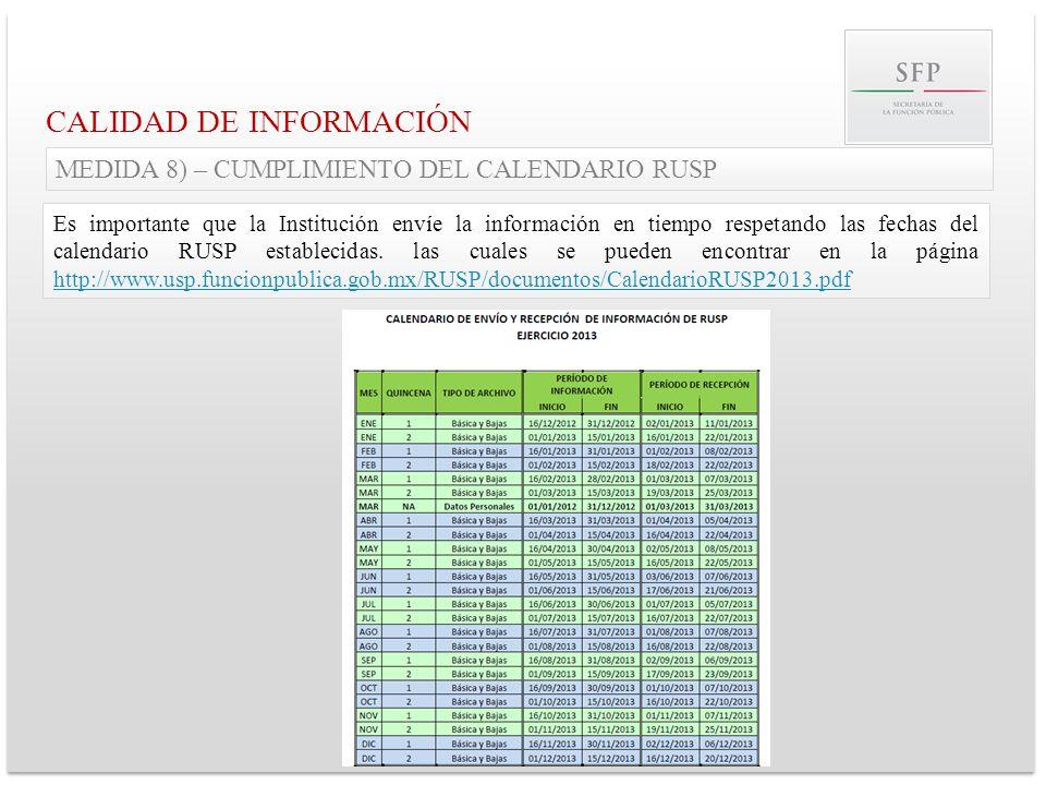 CALIDAD DE INFORMACIÓN MEDIDA 8) – CUMPLIMIENTO DEL CALENDARIO RUSP Es importante que la Institución envíe la información en tiempo respetando las fec