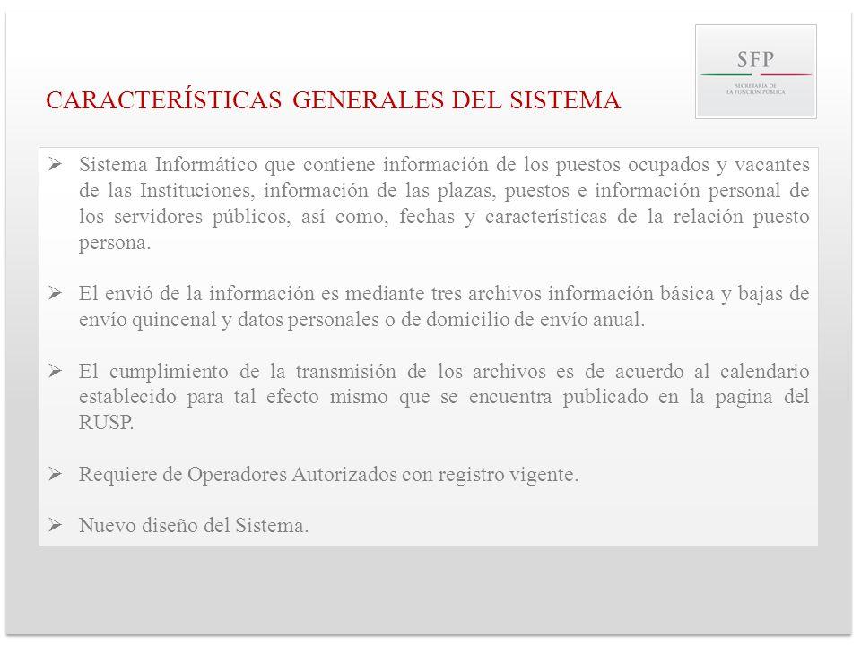 CARACTERÍSTICAS GENERALES DEL SISTEMA Sistema Informático que contiene información de los puestos ocupados y vacantes de las Instituciones, informació