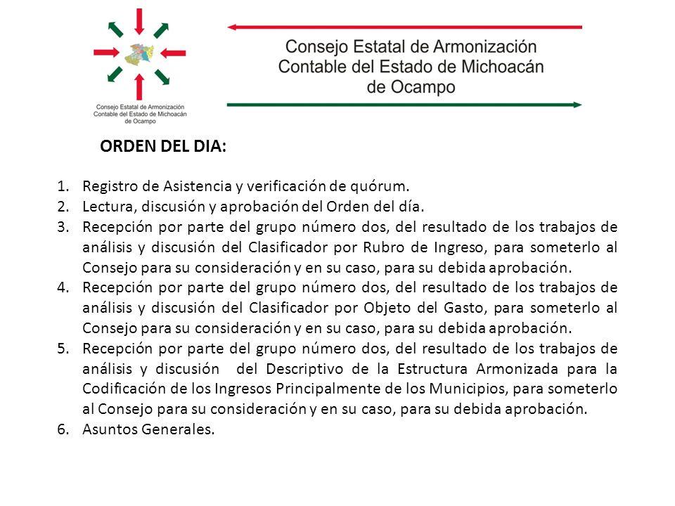 ORDEN DEL DIA: 1.Registro de Asistencia y verificación de quórum. 2.Lectura, discusión y aprobación del Orden del día. 3.Recepción por parte del grupo