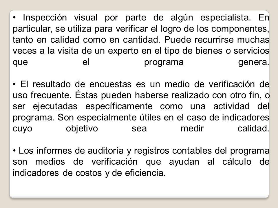 Inspección visual por parte de algún especialista. En particular, se utiliza para verificar el logro de los componentes, tanto en calidad como en cant