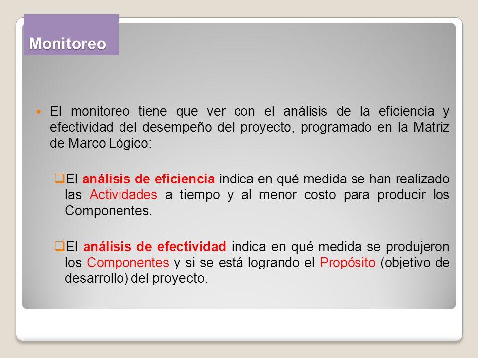 Monitoreo El monitoreo tiene que ver con el análisis de la eficiencia y efectividad del desempeño del proyecto, programado en la Matriz de Marco Lógic