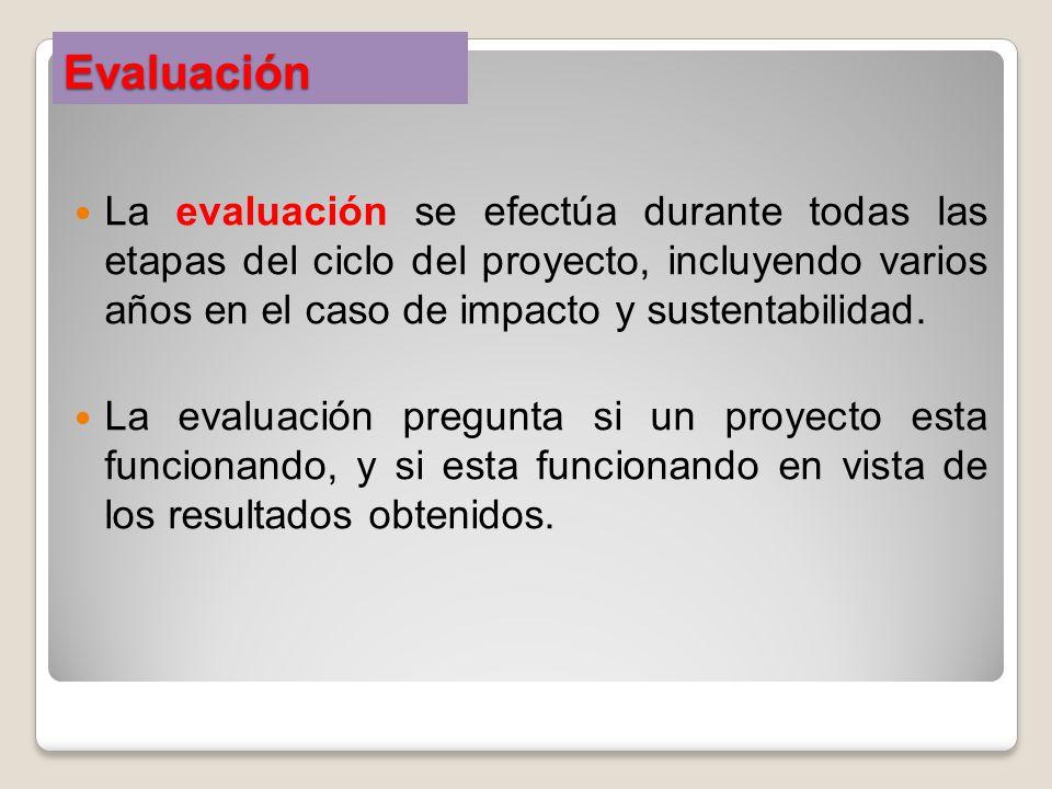 Evaluación La evaluación se efectúa durante todas las etapas del ciclo del proyecto, incluyendo varios años en el caso de impacto y sustentabilidad. L