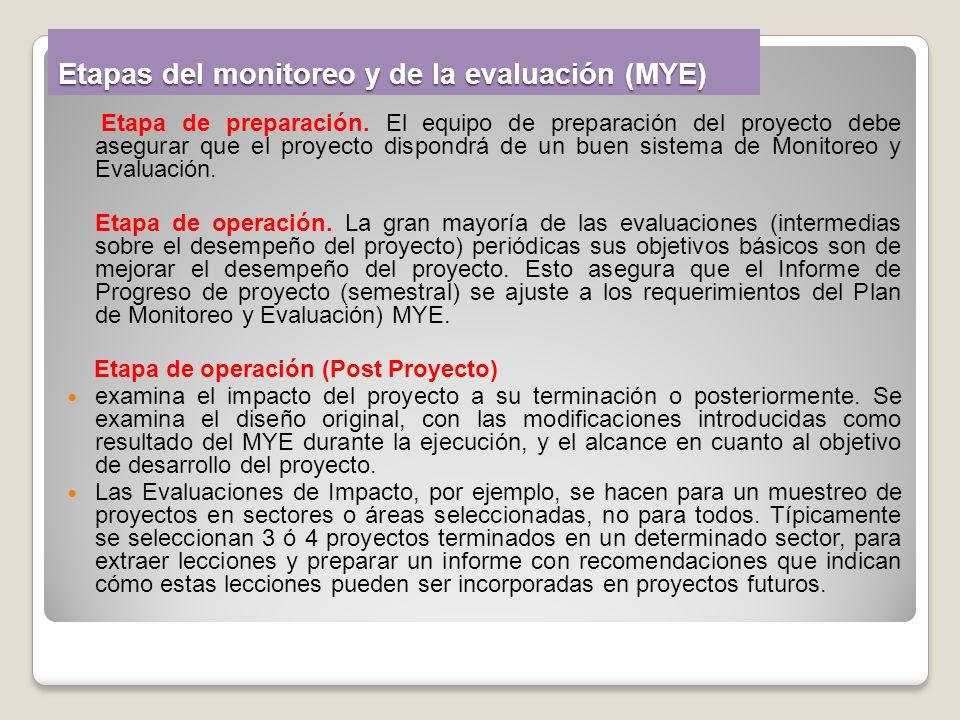 Etapas del monitoreo y de la evaluación (MYE) Etapa de preparación. El equipo de preparación del proyecto debe asegurar que el proyecto dispondrá de u
