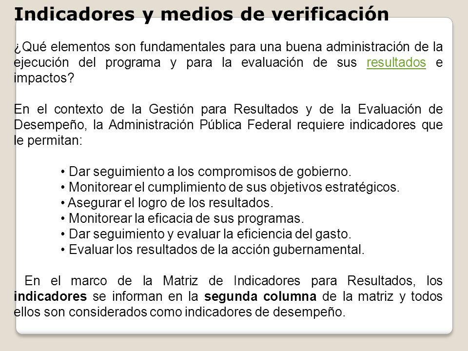 Indicadores y medios de verificación ¿Qué elementos son fundamentales para una buena administración de la ejecución del programa y para la evaluación